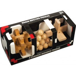 3 Classic Wooden Puzzle Set