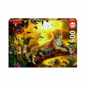 Educa Borras - A leopard and her cubs 500 piece Jigsaw Puzzle