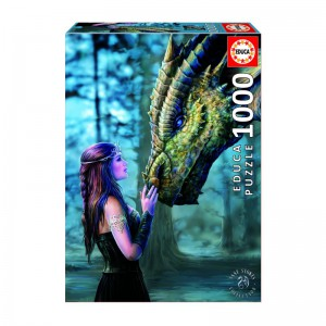 A high quality 1,000 piece Educa Borras jigsaw perfect for puzzle lovers.  The puzzle features a beautiful fantasy image of a young lady and a dragon set in a mystical woodland.