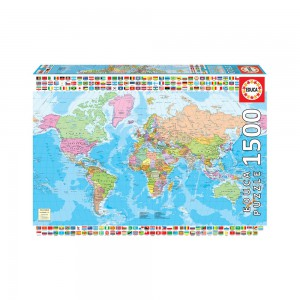 Map of the World With Flags 1500 piece Jigsaw Puzzle