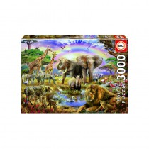 Watering Hole under the Rainbow - 3000 piece Jigsaw Puzzle
