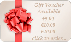 Gift vouchers available to order in 5, 10, 20, 30, 50 or 100 euros